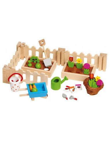 Goki Houten poppenhuis meubel tuinset