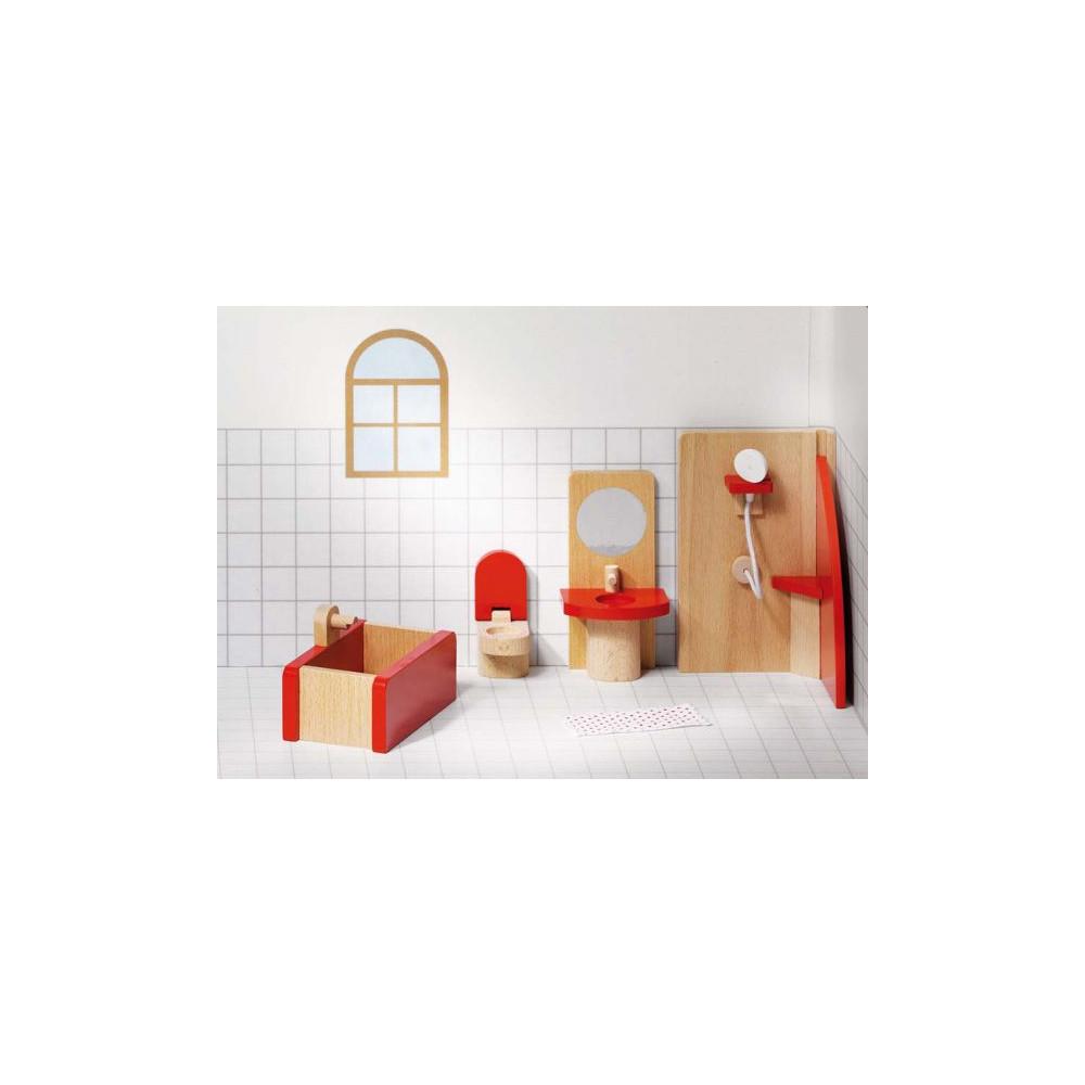 Goki houten poppenhuis meubel badkamer basic 5 delig for Meubels poppenhuis