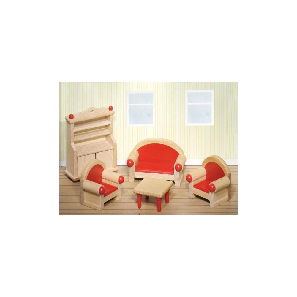 Goki houten poppenhuis meubel woonkamer 5 delig online for Houten meubels woonkamer