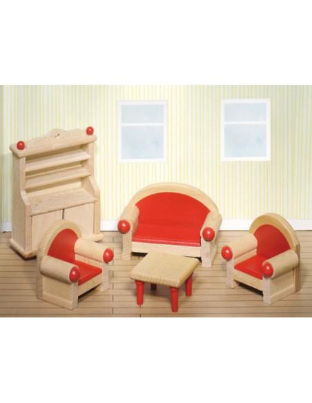 Goki Houten poppenhuis meubel woonkamer 5 delig