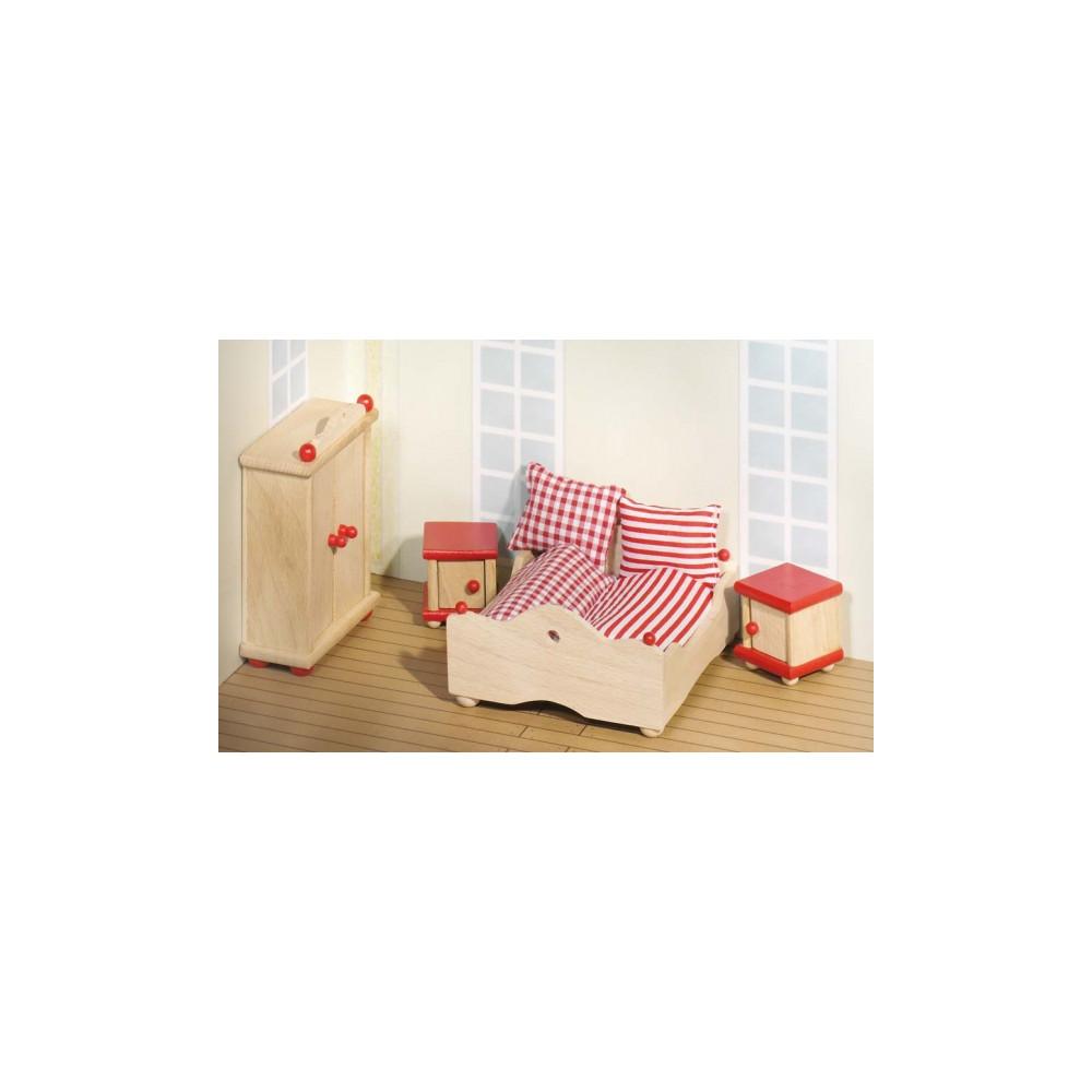 Goki houten poppenhuis meubel slaapkamer 4 delig online kopen - Slaapkamer houten ...