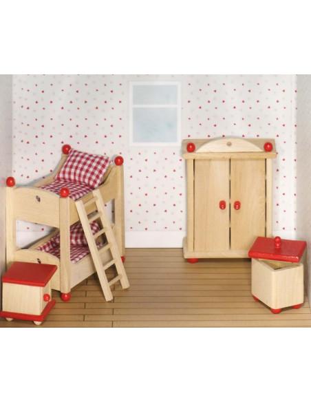 Goki Houten poppenhuis meubel kinderkamer 5 delig