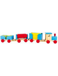 Base Toys Houten trein met bouwblokken