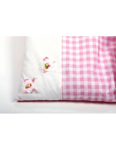 Poppenwagendekje roze geruit met 2 bloempjes