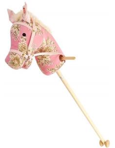 Houten Stokpaard Corduroy Roze Bloem