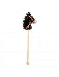 Houten Stokpaard Zwart Pluche