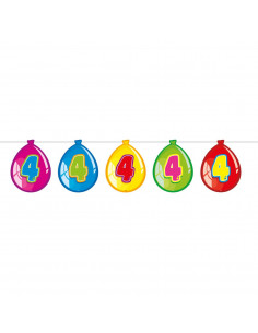 Vlaggenlijn Ballonnen 4 jaar, 10mtr.