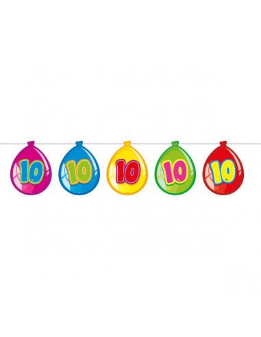 Vlaggenlijn Ballonnen 10 jaar, 10mtr. BT