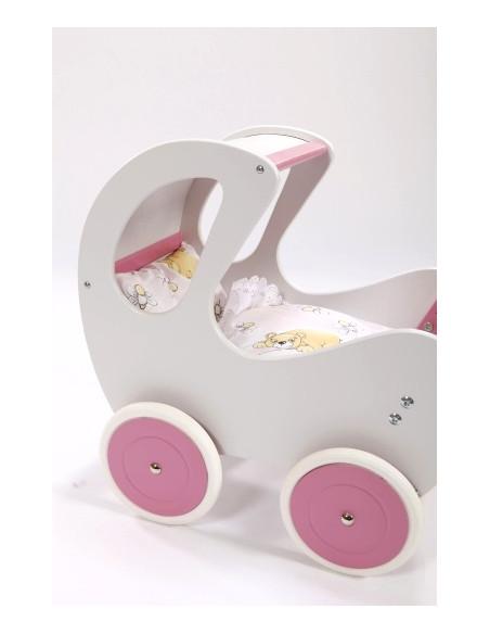Poppenwagen hout groot wit-roze