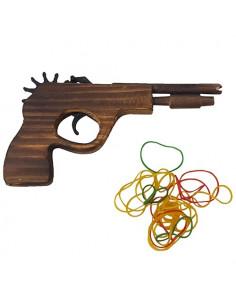 Houten pistool met elastiekjes Bruin