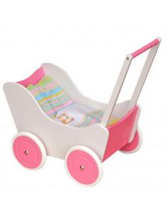 Houten poppenwagen (roze-wit)