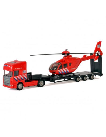 Die-cast Vrachtwagen met Helikopter - Brandweer
