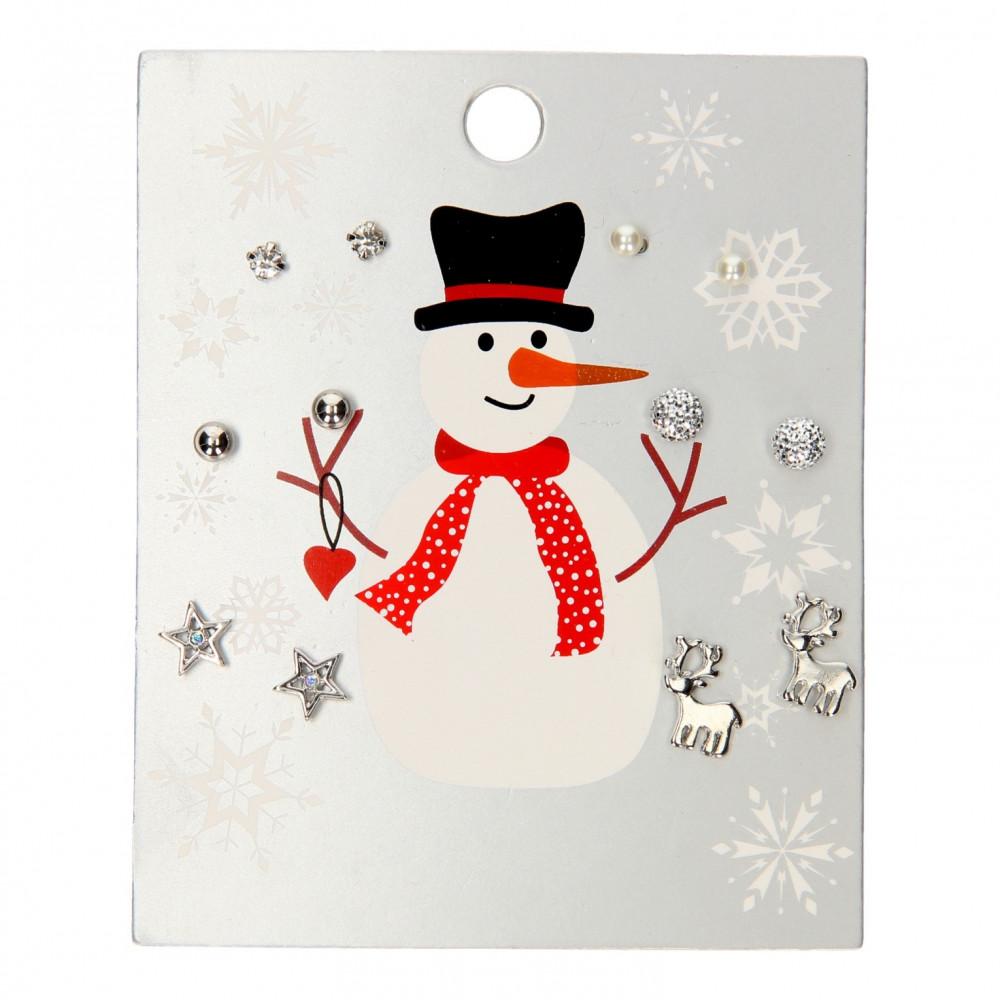 Kinder Oorknopjes Sneeuwpop Zilver, 6 paar