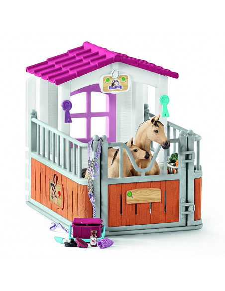 Schleich Paardenbox met Arabische Paarden en Verzorgster
