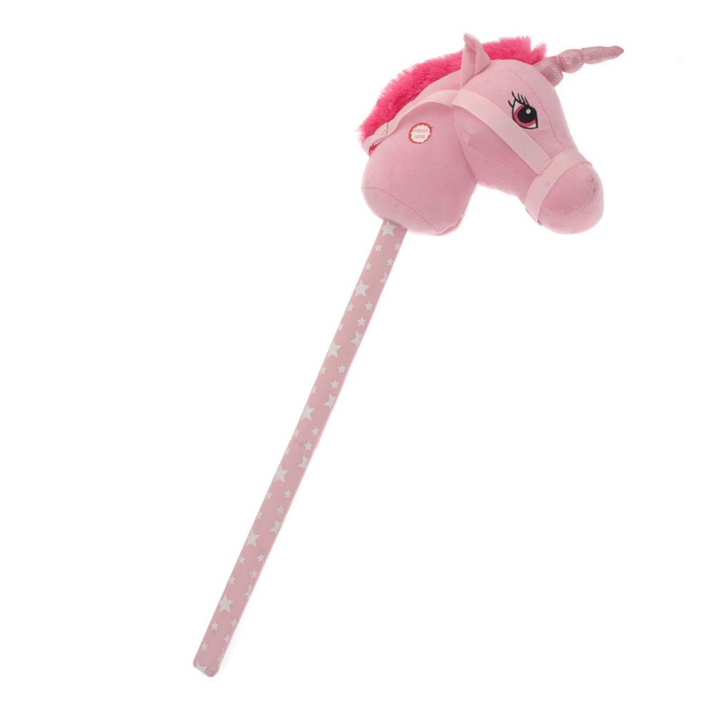 Stokpaard Eenhoorn met Geluid - Roze