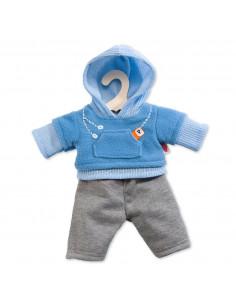 Poppen Jogging Outfit - Blauw, 35-45 cm