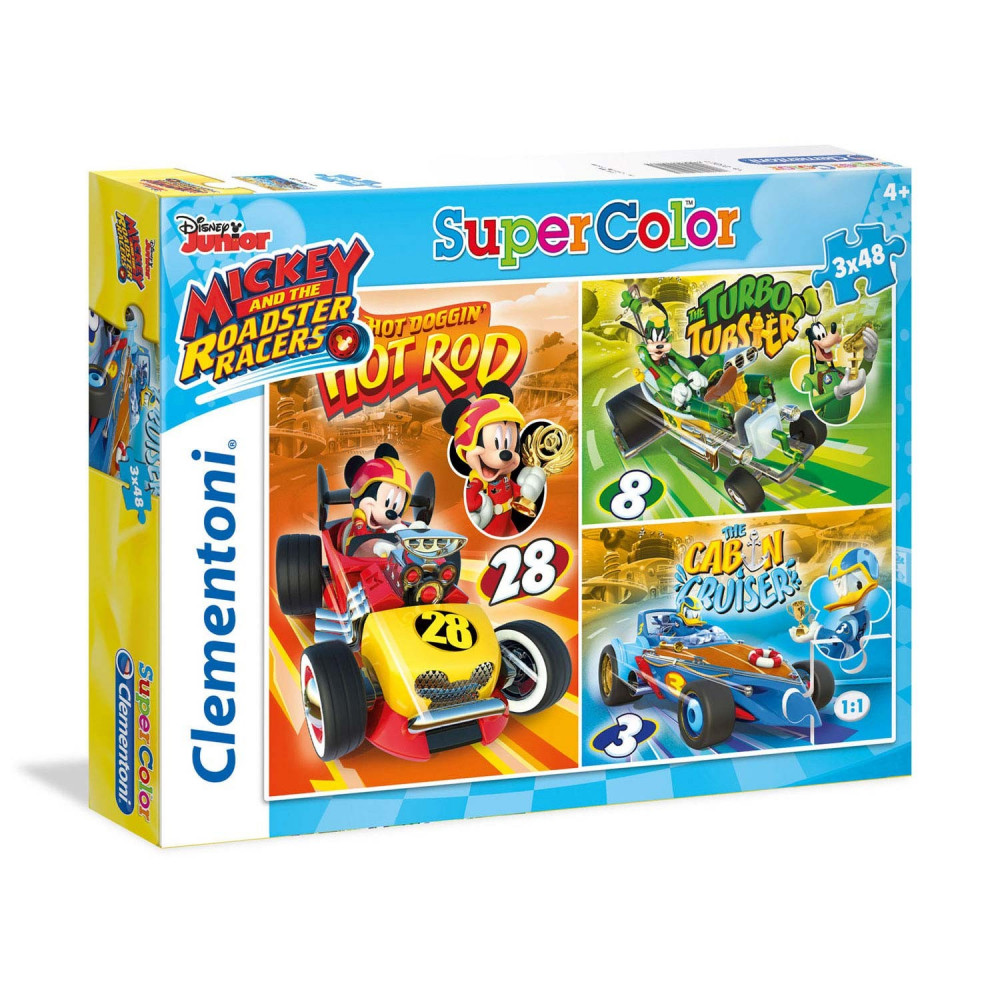 Clementoni Puzzel Mickey Roadster Racers, 3x48st.