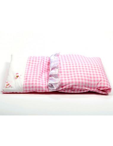 Poppenwagendekje roze geruit met 2...