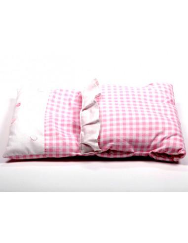 Poppenwagendekje roze met ruitjes