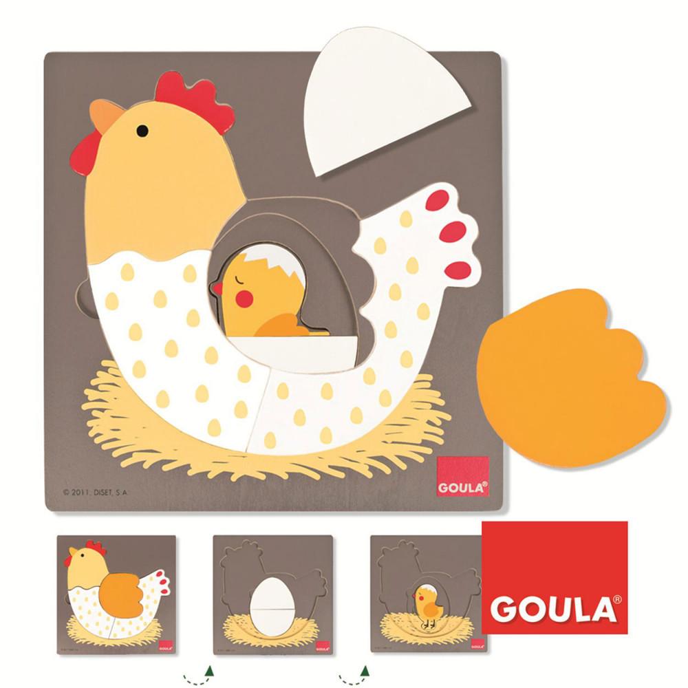 Goula Houten Inlegpuzzel Kip, 7st.