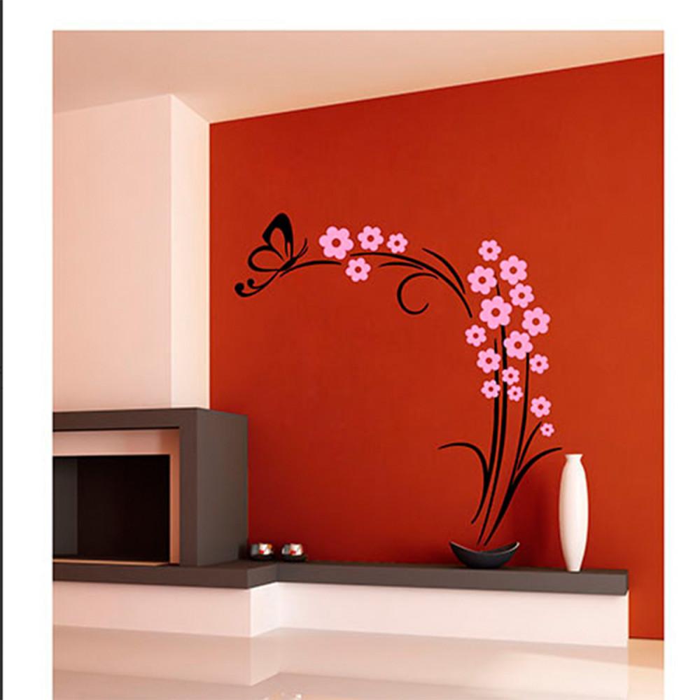 Muursticker Vlinderplant Zwart/Roze