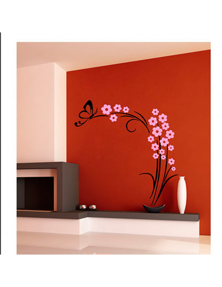 Muursticker Vlinderplant Zwart/Roze BT