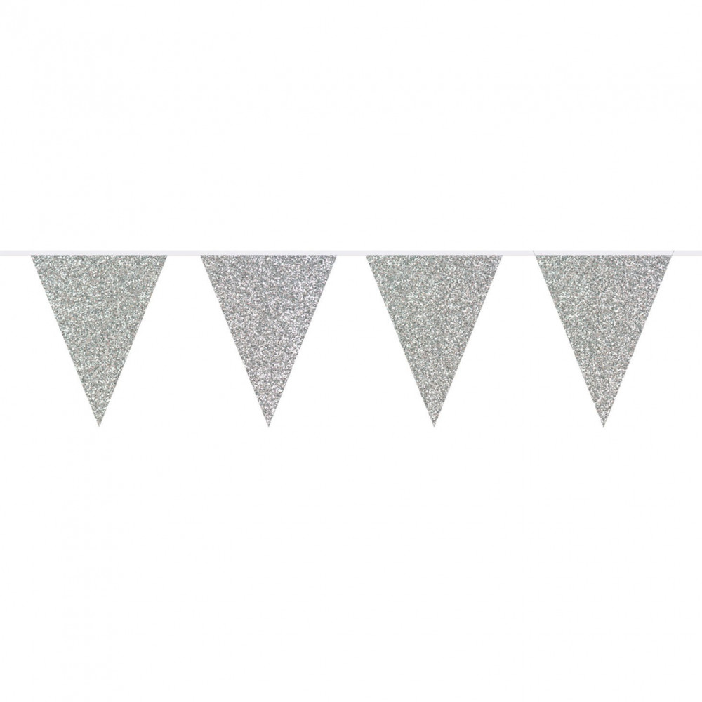 Vlaggenlijn Glitter Zilver, 6mtr.
