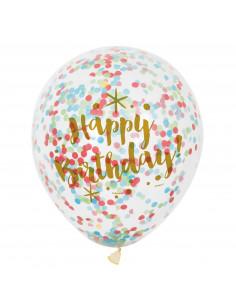 Confetti Ballonnen Happy Birthday, 6st.