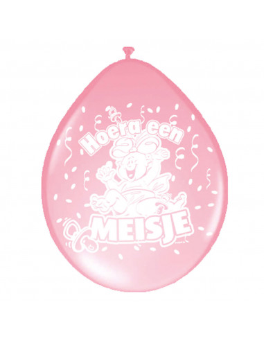 Ballonnen Hoera een Meisje, 8st.