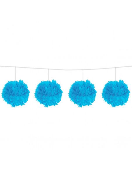 Blauwe Pompom Slinger