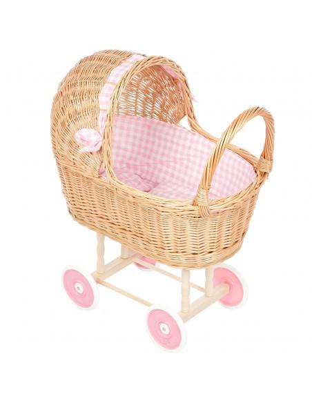 Rieten Poppenwagen met Roze dekje en wielen