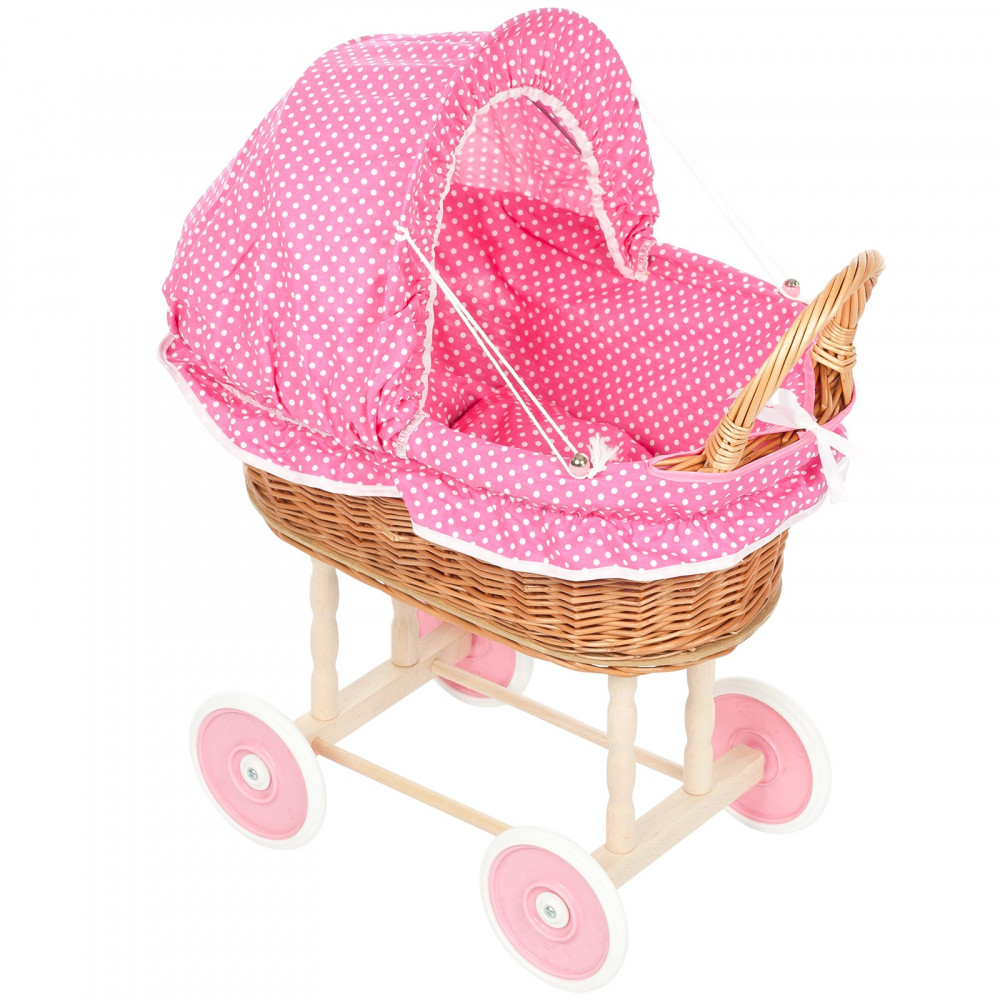 Rieten Poppenwagen Kleine Fuchsia Stippen met roze wielen