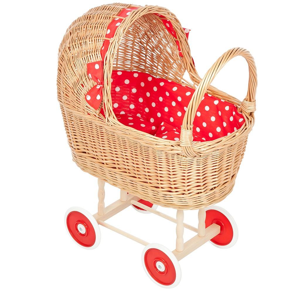 Rieten Poppenwagen Rode Stippen en Rode wielen