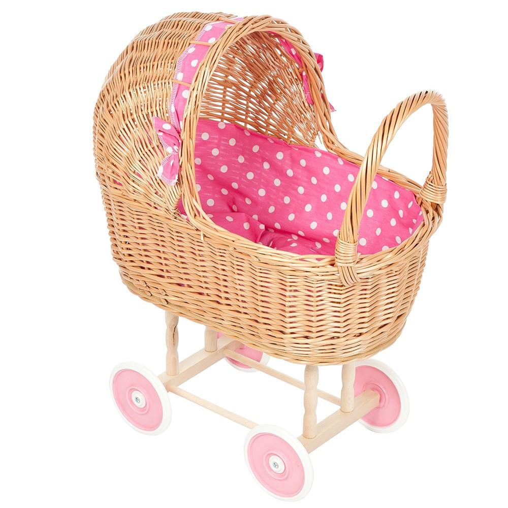 Rieten Poppenwagen met Fuchsia Stip bekleding en roze wielen
