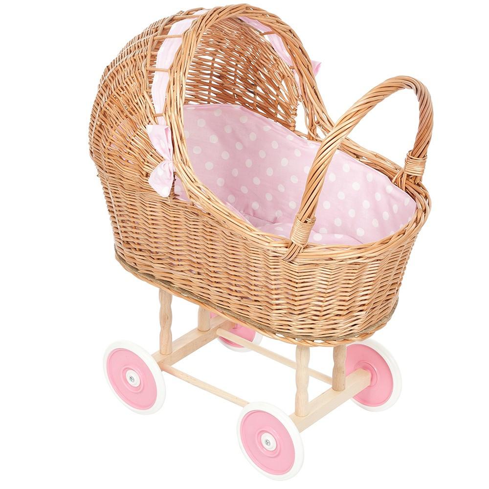 Rieten Poppenwagen met Roze Stip bekleding en wielen
