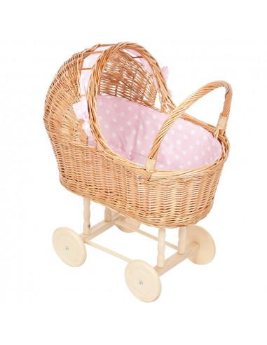 Rieten Poppenwagen met Roze Stip...