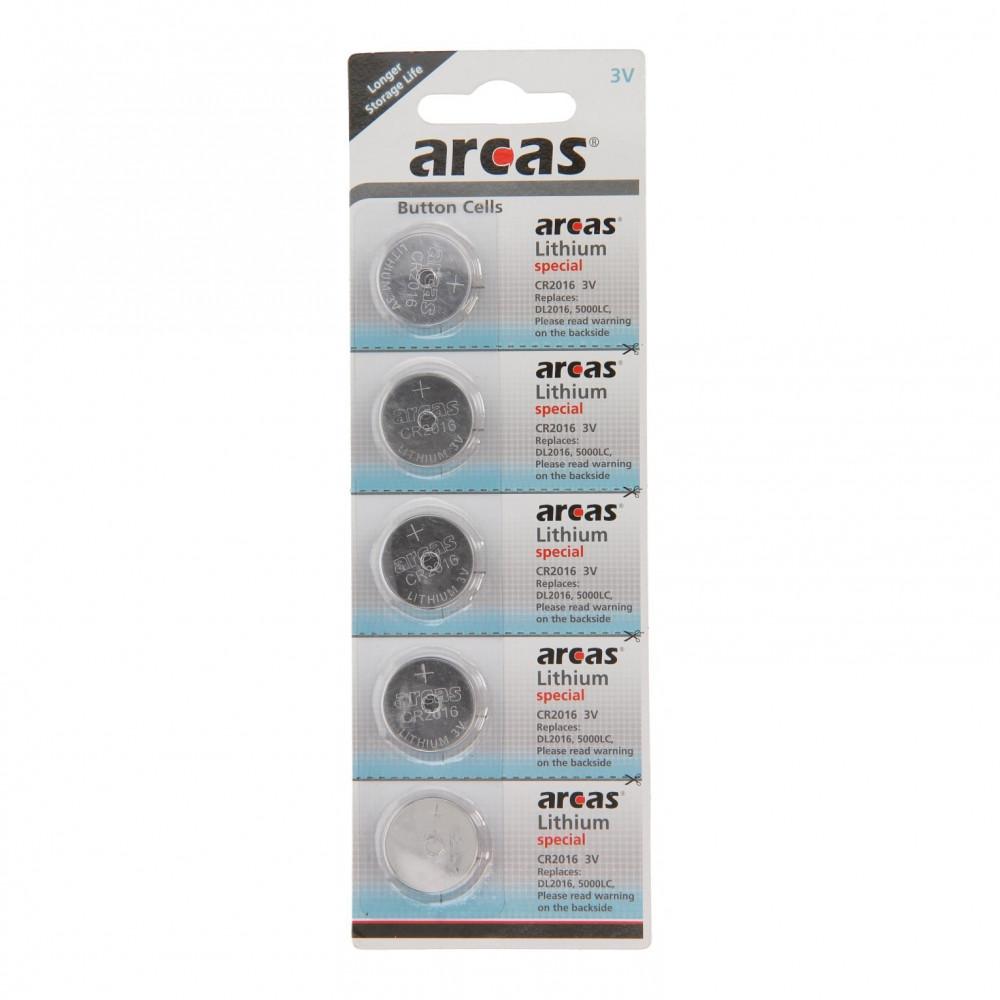 ARCAS Batterij Lithium CR2016 3V, 5st.