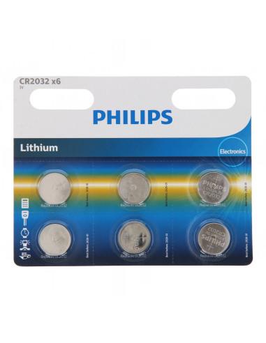 Philips Batterij Lithium CR2032, 6st.