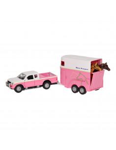 Die-cast Auto met Paardentrailer Roze