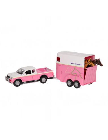 Die-cast Auto met Paardentrailer Roze BT