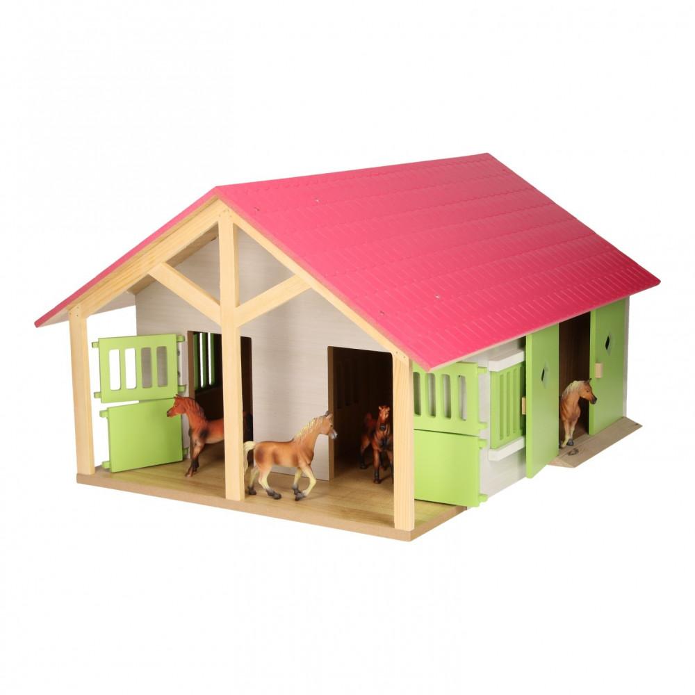 Kids Globe Paardenstal Roze met 2 Boxen en Berging