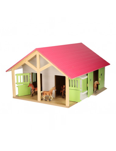 Kids Globe Paardenstal Roze met 2...