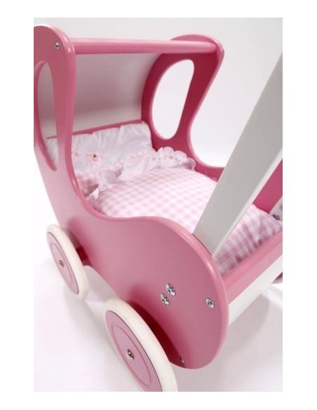 Houten poppenwagen de luxe in roze met roze wielen