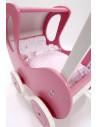Houten poppenwagen de luxe in rose met witte wielen