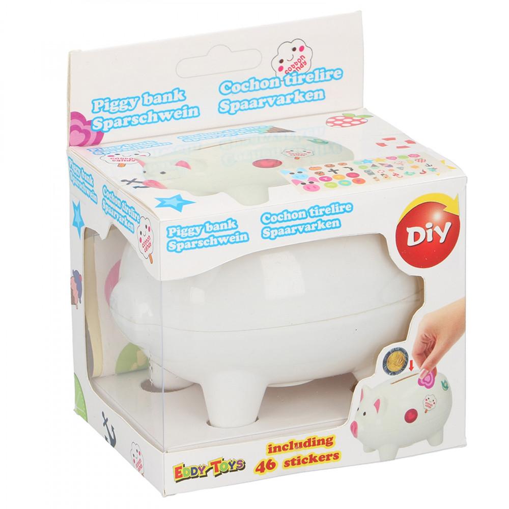 Spaarvarken met DYI Stickers Wit