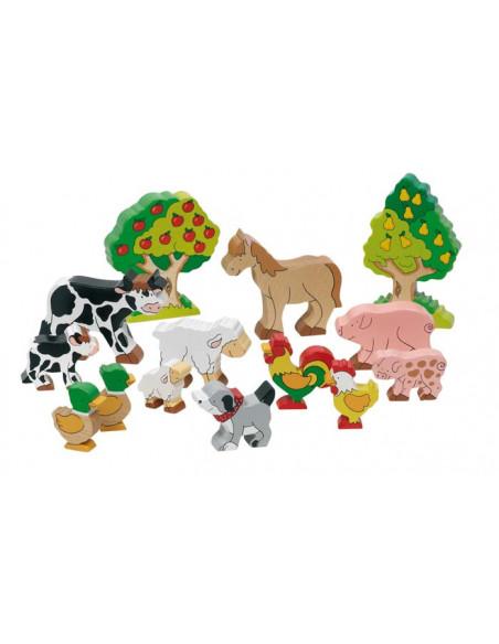 Goki houten boerderijdieren 14 delig