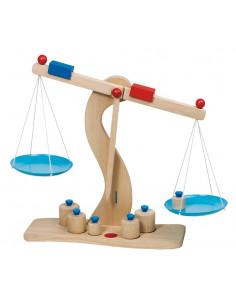 Goki houten Weegschaal - 6 gewichten