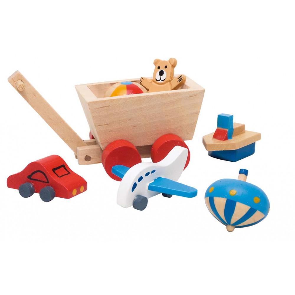 Goki houten Poppenhuis accessoires - Kinderkamer 7 delig