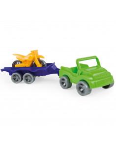 Wader Auto met Trailer Motor Geel
