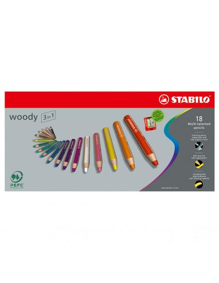 STABILO Woody 3in1 Box Etui - 18 Kleuren + Puntenslijper
